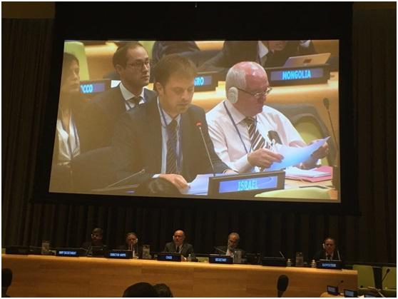 Johannes Guagnin für den JNF und Isreal beim UN Waldforum (UNFF) in New York ; Klimawandel, Wälder und Israel, Jüdischer Nationalfonds