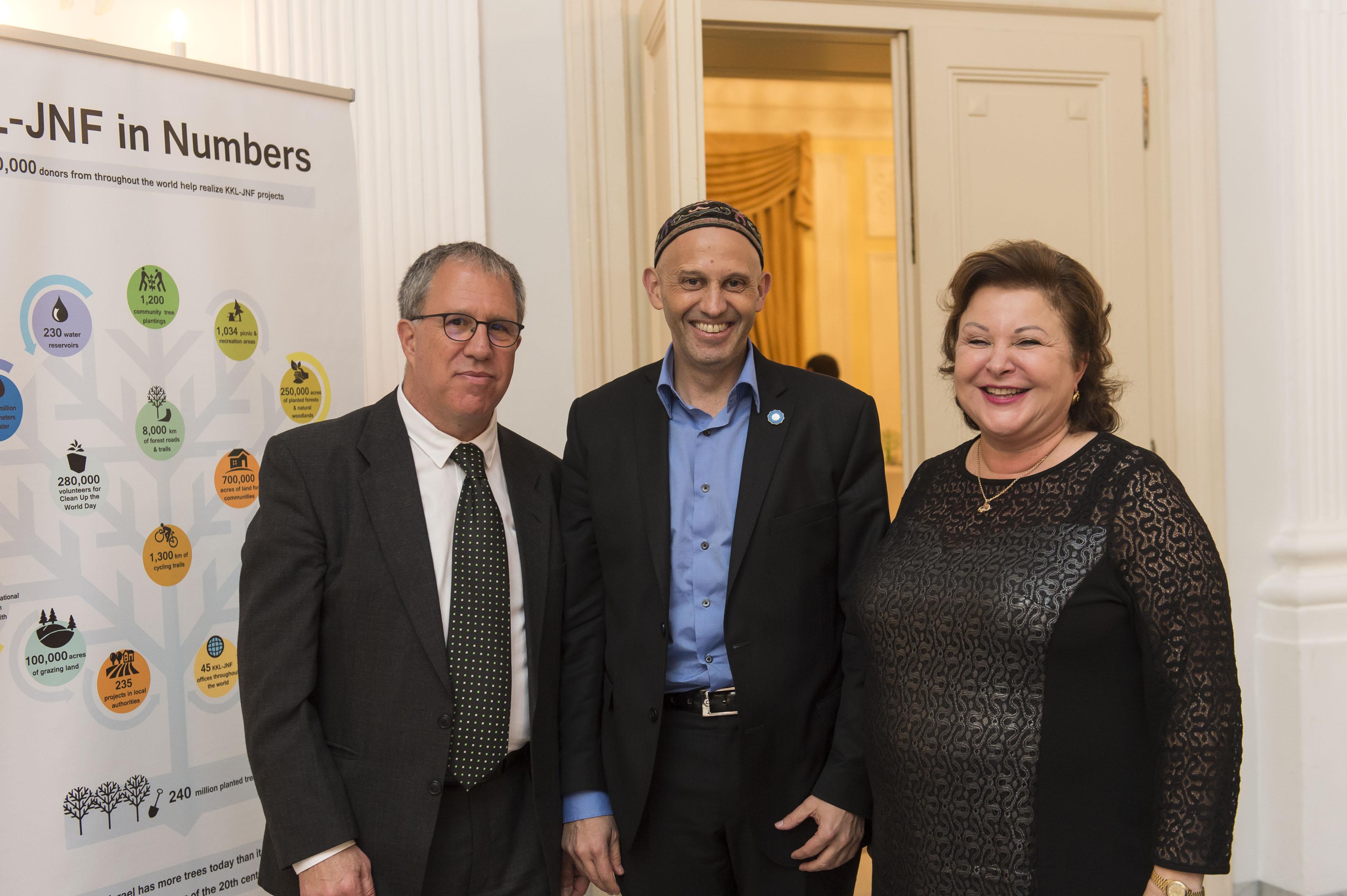 Moshe Pearl (JNF-KKL Israel), Sergio Bergman (Umweltminister Argentinien) und Sarah Singer (JNF-KKL Deutschland)